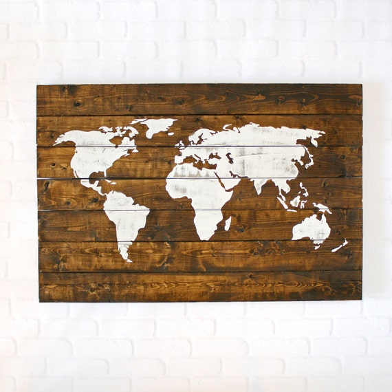 World Map Wood World Map Wall Art World Map Wall by