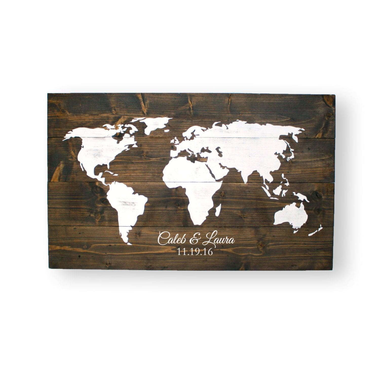 World Map- Wedding Guest Book- Travel Theme Wedding- Travel Map ...