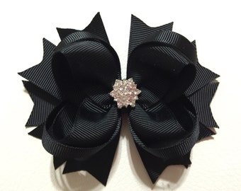 Christmas Hair Bows , Black Hair Bow , Black Stacked Hair Bow , Black Boutique Hair Bow for Toddlers/Girls ,Solid Color Hair Bow