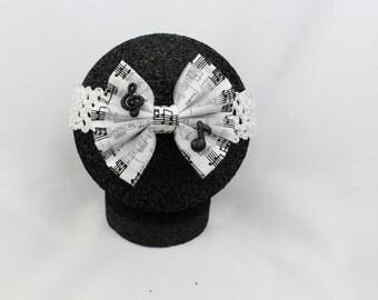 White Music Note headband