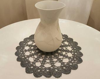 Crochet Silver Doily / Centrino rotondo color argento