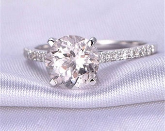Morganite Engagement Ring, White Gold Morganite Ring, Morganite, Engagement Ring, White Gold Ring, Morganite Engagement