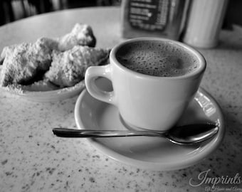 New Orleans photography, Cafe du Monde, coffee print, cafe decor, wall print, beignets, cafe au lait photo, kitchen decor, food photography