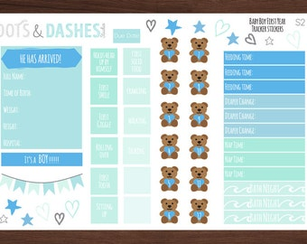 S2- Baby boy, first year tracker stickers, baby milestone stickers, baby's first year (54 Matte Planner Stickers)