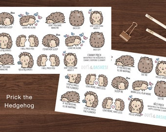 HP- Prick the Hedgehog, Nice Prick, Cranky Prick, mood stickers, happy emotion icon stickers, mad emoticons, emoticons, planner stickers