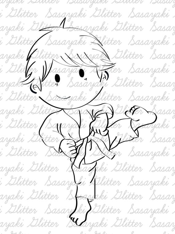 Karate Shy Sasayaki Glitter Digital Stamps, Black and White Only