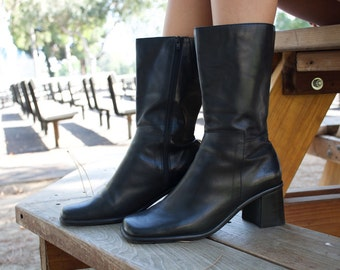 90s Leather boots 7.5