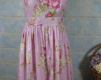 Size 12, Ladies vintage inspired dress, rockabilly dress, floral dress, pink dress,