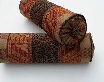 """Animal Print/ Red/ Gold Chenille Bolster Pillows - Size 15"""" X 5"""""""