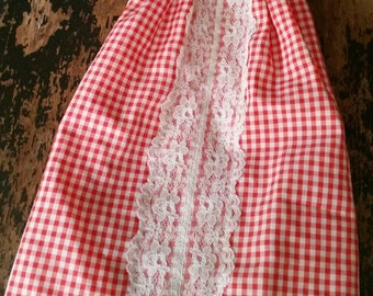 Baby Doll Dress/Red Gingham/Vintage 1980s Homemade Doll Dress/Red and White gingham check with Lace Trim/Vintage Doll Clothing