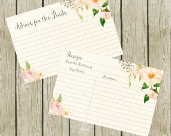 Recipe Cards for Bridal Shower. Advice for the Bride Cards Printable, Floral Recipe Cards Printable. Recipe Cards 4x6, Instant Download