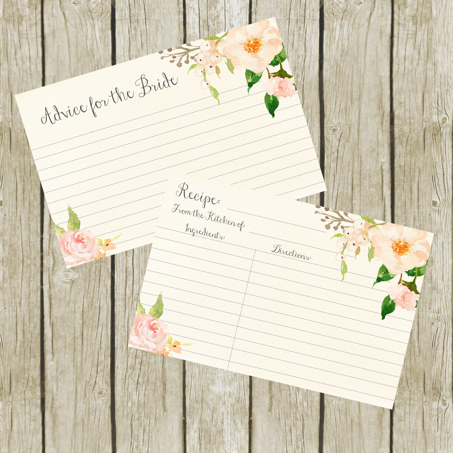 recipe cards for bridal shower advice for the bride cards