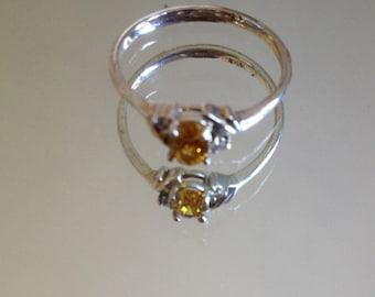 Size 7 Vintage Delicate Citrine Ring, Sterling Silver 925