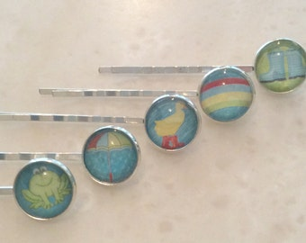 Silver hair pins / set of 5 / Rainy day blue