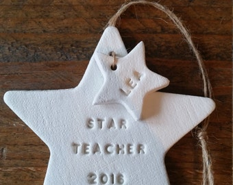 Star Teacher ~ Unique Gift For Teachers ~ Clay Gift ~Personalized Gift ~ End Of Year ~ Personalized Teacher's Gift