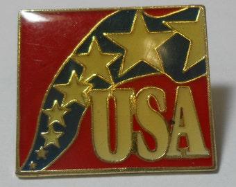 Vintage Gold Tone & Enamel Red White Blue Stars USA Lapel Pin Tie Tack