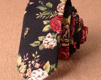 """Black Floral Skinny Tie 2.36""""    -  floral ties, Floral skinny ties, prom, wedding , gift, Vintage, retro, gifts for him, anniversary, Groom"""