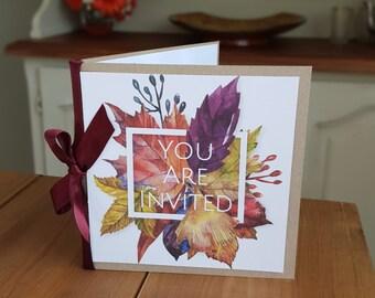 x25 Autumn Leaves Bespoke and Personalised Wedding Invitations