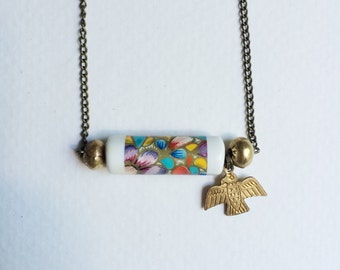 vintage bead + thunderbird charm necklace