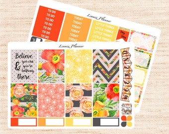Vintage Floral Little Weekly Kit (matte planner sticker, fits perfect in Erin Condren Life Planner Vertical)