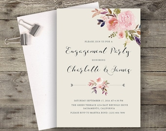Boho Invitation, Peony Invitation, Printable Engagement Party Invitation, Engagement Party Invite, Engagement Dinner, Calligraphy Invite