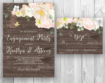 Floral Rustic Wood Engagement Party Invitation, Boho Chic Invite, Bohemian Engagement Invite, Printable Invitation, Handpainted Invite