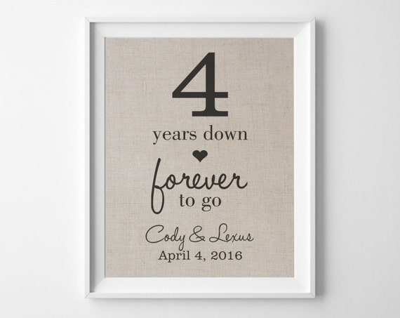 Wedding Gifts For 4 Years : Years Down - Forever to Go 4th Linen Wedding Anniversary Gift for ...