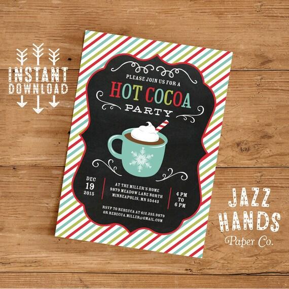 Hot Cocoa Party Invitation Template DIY Printable Hot Cocoa Bar