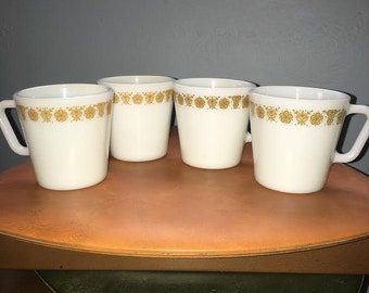 Vintage Set of 4 Pyrex Gold Butterfly Mugs with D Handles