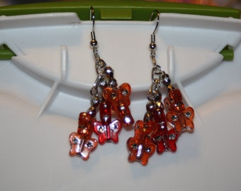 Orange & Red Butterfly Earrings