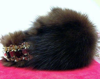 "Fur earmuffs with crown on headband ""Sable"", Ear Warmer, Earwarmer, Winter Headwear, Ear muff with Crown"