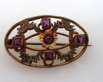 Antique Victorian Brooch Paste Rhinestones C Catch
