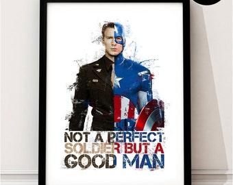 Captain America Art Print, Steve Rogers Vintage Marvel Superhero Inspired, retro, Quote, Avengers Art, Civil War, Winter Soldier