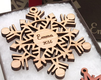 Nutcracker Style Personalized Christmas Ornaments by Nestled Pines - Wood Snowflake Christmas Ornaments Personalized with Name and Year