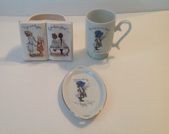 Vintage Holly Hobbie  Cup, Plate, Planter