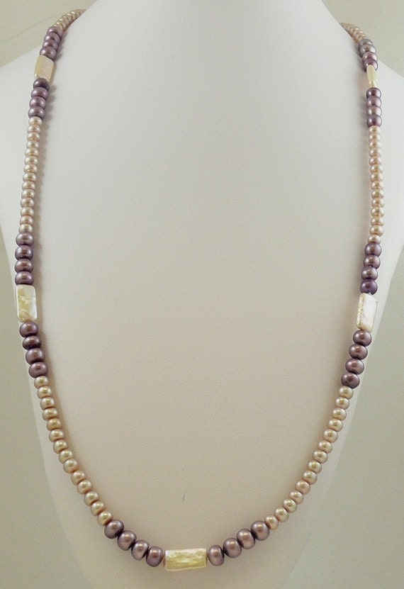 """Freshwater Pink and Purple Rondel and Fancy Shape Pearl 5 - 8mm Necklace 48"""""""