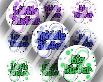 Digital Bottle Cap Collage Sheet - Sister Circles - 1 Inch Circles Digital Images for Bottlecaps