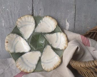 French vintage majolica oyster plate  1880-1900 longchamp Minton majolica