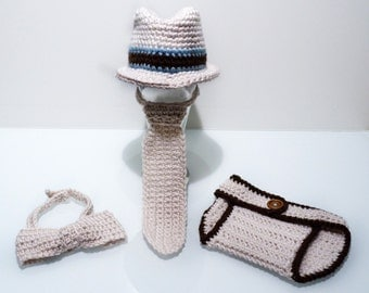 Crochet Newborn Fedora Hat with Matching Tie, Bow Tie, and Diaper Cover,  Newborn Photo Prop Set