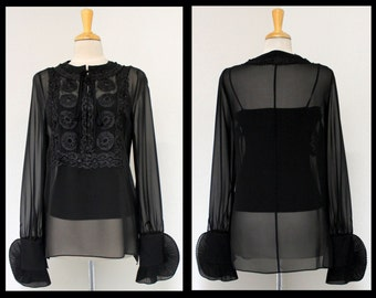 Designer and Exclusive Black , Boho, high fashion, Ribbon work Top Blouses.
