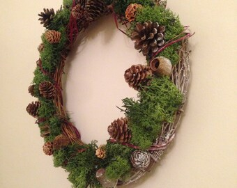 Handmade, Natural  Reindeer Moss Wreath