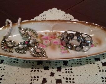 Antique rose Porcelain trinket dish, jewelry display dish
