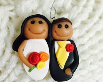 Just Married Bride and Groom Christmas Ornament