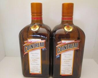 Cointreau Empty Bottles Lot Of 2 Bottles 750 ML Amber Colored Glass Empty Liquor Bottles