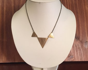 Gold Triangle Necklace - Triangle Trifecta