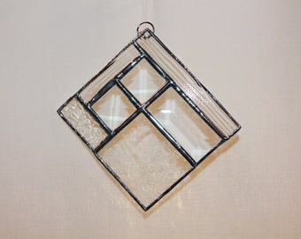 Stained Glass Clear Bevel Suncatcher - Stained Glass Bevel Suncatcher - Ornament