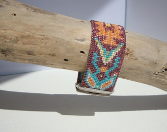 woven cuff, Bohemian, ethnic, navajo Indian-style bracelet