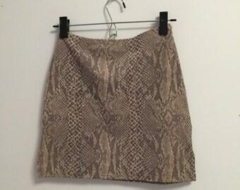 90s Stretchy Snakeskin Mini Skirt
