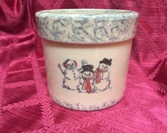 Snowmen Crock, Planter, Flower Pot, Crock