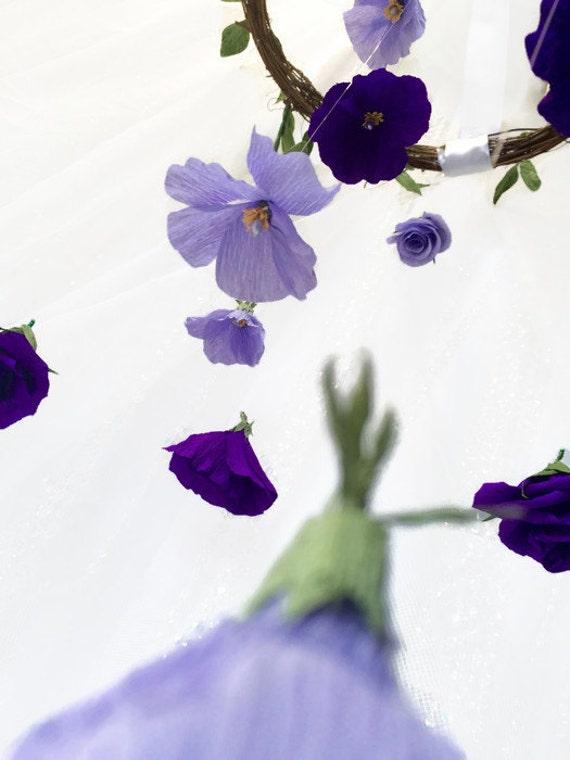 Hanging Flower Decoration, Purple & Lavender Flowers, Baby Girl Room, Fairytale Wedding, Wedding Decor, Handmade and Hand Painted Details